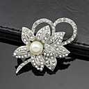 cheap Brooches-Women's Brooches - Pearl, Crystal, Cubic Zirconia Flower Ladies, Party, Work, Fashion Brooch Jewelry White For Wedding / Party / Special Occasion / Anniversary / Birthday / Masquerade