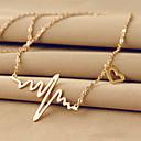 hesapli Bilezikler-Kadın's Uçlu Kolyeler - 18K Altın Kaplama, Titanyum Çelik Kalp, Aşk Eşsiz Tasarım, Temel Gümüş, Gül Pembesi Kolyeler Uyumluluk Düğün, Parti, Günlük
