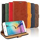 hesapli Galaxy S Serisi Kılıfları / Kapakları-Pouzdro Uyumluluk Samsung Galaxy Samsung Galaxy Kılıf Kart Tutucu Satandlı Flip Tam Kaplama Kılıf Tek Renk PU Deri için S6 edge S6 S5 S4