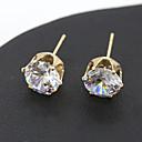 hesapli Küpeler-Kadın's Kristal Vidali Küpeler - Kristal Gümüş / Altın Uyumluluk Düğün Parti Günlük