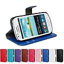 hesapli Şarj Aletleri-Pouzdro Uyumluluk Samsung Galaxy Samsung Galaxy Kılıf Kart Tutucu Satandlı Flip Tam Kaplama Kılıf Tek Renk PU Deri için S3 Mini