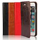 cheap iPhone Cases-Case For Apple iPhone 6 iPhone 6 Plus Card Holder with Stand Flip Full Body Cases Solid Color Hard Genuine Leather for iPhone 6s Plus
