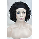 hesapli Ekran Koruyucular-Sentetik Peruklar Bukle Kafa Bandı ile Sentetik Saç Siyah Peruk Kadın's Şort 3/4 Tam Kapsız Siyah