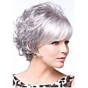 hesapli Makyaj ve Tırnak Bakımı-Sentetik Peruklar Bukle Katmanlı Saç Kesimi / Bantlı Sentetik Saç Patlama ile Beyaz Peruk Kadın's Şort Bonesiz Gümüş StrongBeauty