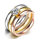preiswerte Ringe-Kubikzirkonia Bandring / Statement-Ring / Ring - Zirkon, Kubikzirkonia, versilbert Luxus, Quaste, Böhmische 6 / 7 / 8 Verschiedene Farben Für Hochzeit / Party / Alltag / vergoldet / vergoldet