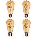 tanie Żarówki filament LED-KWB 2200 lm E26/E27 Żarówki LED kulki ST64 4 Diody lED COB Przysłonięcia Dekoracyjna Ciepła biel AC 85-265V