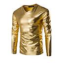 Χαμηλού Κόστους Αξεσουάρ Wii-Ανδρικά T-shirt Αθλητικά Βασικό / Πανκ & Γκόθικ - Βαμβάκι Μονόχρωμο Λαιμόκοψη V Λεπτό Χρυσό XXXL / Μακρυμάνικο / Άνοιξη / Φθινόπωρο