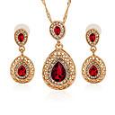 ieftine Ceasuri Damă-Pentru femei Cristal Zirconiu Cubic Seturi de bijuterii Pară Picătură femei Modă Cristal Diamante Artificiale cercei Bijuterii Rosu / Verde / Albastru Pentru Dată Bikini / Cercei