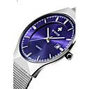 preiswerte Herrenuhren-WWOOR Herrn Paar Quartz Armbanduhr Kalender Wasserdicht Edelstahl Band Luxus Freizeit Kleideruhr Modisch Silber