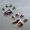 ieftine Decorațiuni-pereche cool design laba auto autocolant 3d animal câine pisică ursul picior imprimeu 3m autocolante autocolante argint