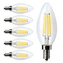 hesapli Kolyeler-6pcs 380lm E12 LED Filaman Ampuller C35 4 LED Boncuklar COB Kısılabilir Sıcak Beyaz 110-130V