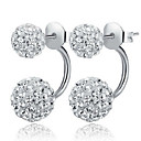 cheap Bathroom Gadgets-Women's two stone Stud Earrings Earrings Earrings Ball Ladies Classic Basic Fashion Jewelry Silver For Christmas Gifts Wedding Party Daily Casual Masquerade