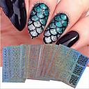 preiswerte Make-up & Nagelpflege-24 pcs Folienaufkleber Tragbar / Geometrisches Muster / Nagel-Aufkleber Nagel-Kunst-Werkzeug