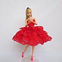preiswerte Puppen und Stofftiere-Party/Abends Kleider Für Barbie-Puppe Spitze Satin Kleid Für Mädchen Puppe Spielzeug