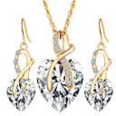 cheap Jewelry Sets-Women's Crystal / Synthetic Diamond Jewelry Set - Crystal Heart, Love European, Elegant, Bridal Include Drop Earrings / Pendant Necklace Red / Green / Blue For Wedding / Party / Gift