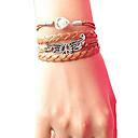 preiswerte Broschen-Damen Perle Wickelarmbänder Lederarmbänder - Leder Frieden Armbänder Braun Für Weihnachts Geschenke Party Alltag