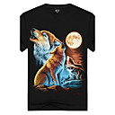cheap Makeup & Nail Care-Men's Sports / Club Street chic / Punk & Gothic Cotton Slim T-shirt - Animal Wolf, Print Round Neck Black XL / Short Sleeve