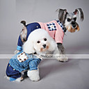 cheap Dog Clothing & Accessories-Cat Dog Jumpsuit Dog Clothes Plaid / Check Blue Pink Cotton Costume For Spring &  Fall Winter Men's Women's Casual / Daily