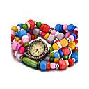 baratos Anéis-REBIRTH Mulheres Quartzo Relógio de Pulso Bracele Relógio Impermeável Madeira Banda Vintage Casual Fashion Preta Branco Vermelho Marrom