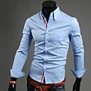 رخيصةأون قمصان رجالي-رجالي قطن قميص قياس كبير ياقة مع زر سفلي - الأعمال التجارية أساسي لون سادة, عمل أزرق داكن XL / كم طويل / الربيع / الخريف