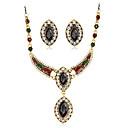 preiswerte Halsketten-Damen Strass Schmuck-Set 1 Halskette 1 Paar Ohrringe - Euramerican Modisch Oval Schwarz Rot Grün Schmuckset Anhängerketten Für Hochzeit