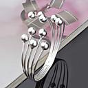 billige Armbånd-Dame Perler Mansjettarmbånd Sølvplett damer Personalisert Europeisk Enkel Stil Mote Armbånd Smykker Sølv Til Julegaver Fest jubileum Bursdag Gave