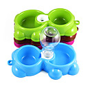 Buy Fashion plastic dog drinking bowl Little bear double cat food dual-use bowls