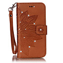 baratos Capinhas para Galaxy Série S-Capinha Para Samsung Galaxy S7 edge / S7 Porta-Cartão / Com Strass / Com Suporte Capa Proteção Completa Flor Rígida PU Leather para S7 edge / S7 / S6 edge