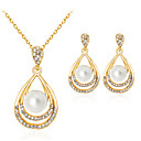 cheap Necklaces-Women's Pearl Jewelry Set - Imitation Pearl, Rhinestone, Gold Plated Drop Classic, Fashion Include Gold For Party Gift Daily