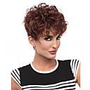 halpa Muotikaulakorut-Synteettiset peruukit Kihara Tyyli Suojuksettomat Peruukki Ruskea Beige Synteettiset hiukset Naisten Afro-amerikkalainen peruukki Ruskea Peruukki Lyhyt Luonnollinen peruukki