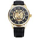levne Pánské-Pánské Módní hodinky mechanické hodinky Automatické natahování Kůže Černá / Zelená 30 m Analogové Zlatá Stříbrná