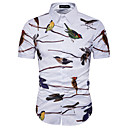 cheap Men's Shirts-Men's Plus Size Cotton Slim Shirt - Animal Print / Short Sleeve