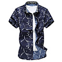 رخيصةأون بولو رجالي-رجالي شاطئ طباعة قياس كبير قميص, هندسي ياقة كلاسيكية نحيل / كم قصير / الصيف