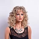 hesapli Küpeler-Sentetik Peruklar Bukle Sarışın Bantlı Sentetik Saç Sarışın Peruk Kadın's Orta Bonesiz Sarışın