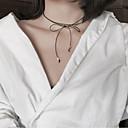 billige Perle Halskæde-Dame Kort halskæde Sløjfe Vintage Mode Euro-Amerikansk PU Sort Halskæder Smykker Til Fest