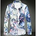 رخيصةأون قمصان رجالي-رجالي عتيق طباعة قطن قميص, ورد ياقة كلاسيكية نحيل / كم طويل / الربيع / الخريف