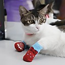 Недорогие Одежда для кошек-Собака Носки На каждый день Сохраняет тепло Спорт Животное Серый Красный Синий Розовый Для домашних животных