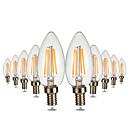 hesapli LED Şerit Işıklar-Ywxlight® 10 adet e12 4led 4 w led küre ampuller cob sıcak beyaz vintage led filament ampul tatil ışık edison ampul ac 110-130 v