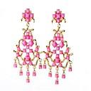 billige Mode Halskæde-Dame Klipøreringe Øreringe Damer Personaliseret Tassel Mode Sød Stil Overdimensionerede Smykker Lys pink Til Fest Ferie I-byen-tøj