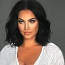 ieftine Peruci-Peruci Sintetice Ondulat Kardashian Stil Tunsoare bob Fără calotă Perucă Negru Negru Păr Sintetic Negru Perucă Mediu