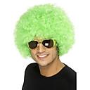 hesapli Küpeler-Sentetik Peruklar / Kostüm Perukları Bukle Sentetik Saç Afrp Amerikan Peruk Yeşil Peruk Orta Bonesiz Yeşil