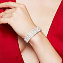 ieftine Brățări-Pentru femei Argintiu Bratari de tenis Brățară Lantul de tenis femei Lux Modă Elegant de Mireasă Ștras Bijuterii brățară Argintiu Pentru Nuntă Petrecere Aniversare Zi de Naștere Cadou Zilnic / Argilă