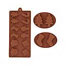 preiswerte Backzubehör & Geräte-Schneemann Weihnachtsbäume Schokolade Silikonform Cookies Formen Fondant Kuchen dekorieren