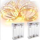 hesapli LED Şerit Işıklar-3M Dizili Işıklar 30 LED'ler Su Geçirmez Pil / IP65