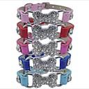 preiswerte Hundehalsbänder, Geschirre & Leinen-Katze Hund Halsbänder Einstellbar Solide Knochen PU-Leder Rot Blau Rosa