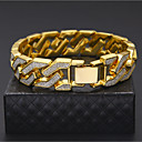 cheap Women's Watches-Men's Curb Chain Bracelet - Gold Plated Rock, Hip-Hop Bracelet Gold / Silver For Casual / Club