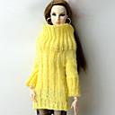 رخيصةأون مستلزمات وأغراض العناية بالكلاب-دمية أعلى كنزات إلى Barbie أصفر نسيج الصوف الصوف الاصطناعي بلايز إلى لفتاة دمية لعبة