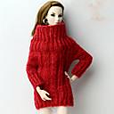 hesapli Makyaj ve Tırnak Bakımı-Üstler / Moda Üst İçin Barbie Bebek Kırmzı Yün Kumaş Top İçin Kız Oyuncak bebek
