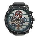 Χαμηλού Κόστους Ανδρικά ρολόγια-JUBAOLI Ανδρικά Ρολόι Καρπού Χαλαζίας Υπερμεγέθη Δέρμα Μαύρο Απίθανο Μεγάλο καντράν Αναλογικό Βίντατζ Μοναδικό Watch Creative - Μαύρο Σκούρο μπλε Πράσινο Ενας χρόνος Διάρκεια Ζωής Μπαταρίας