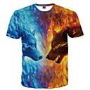 billige T-shirts og undertrøjer til herrer-Rund hals Herre - Dyr Trykt mønster Basale Natklub T-shirt Ulv Blå XXXL / Kortærmet / Sommer